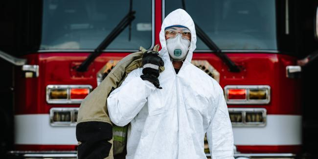 First responder wearing PPE