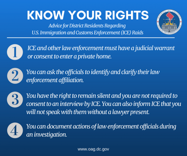 ICE Raid Know Your Rights graphic